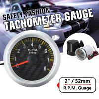 """12V 2"""" 52mm 0-8000 RPM SP Car Engine Rev Counter Pointer Gauge Meter Tachometer"""