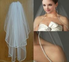 New White/Ivory Elbow Length Rhinestone Edge Wedding Bridal Veil 2T w/ Comb