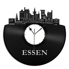 Essen Vinyl Wall Clock City Skyline Unique Gift Home Room Office Decor