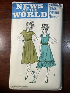 New Vintage NEWS OF THE WORLD Misses Dress Pattern 308 Size 10-16 Uncut