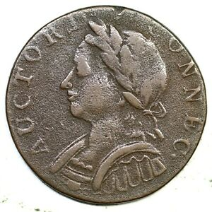 1787 4-L Rare Die State Connecticut Colonial Copper Coin