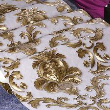 Metallic Damask Gold Textured Wallpaper Luxury Home Room Wall Paper Rolls