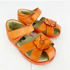 See Kai Run Toddler Girls Size 6 Orange Leather Sandals Shoes Flower