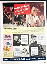 Camel Cigarette Ad Original 1937 Herb Lewis Detroit Red Wing Hockey Player