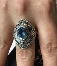 $98 Sarda Filigree 925 Sterling Silver Ring Swiss Blue Topaz Size 8