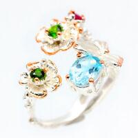 Vintage style Flower design Natural Blue Topaz 925 Sterling Silver Ring / RVS98