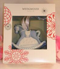 New Wedgwood Blue Jaspeware Baby 1ST First Christmas Rocking Horse Ornament 2016