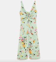 Zara Mint Green Floral Cropped Wide Leg Jumpsuit Romper Gathered Detail S 8 10