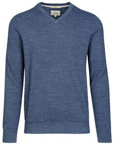 LARGE UK41//42 CAMEL ACTIVE MEN/'S V-NECK COTTON SWEATER DEEP BLUE MELANGE SIZE