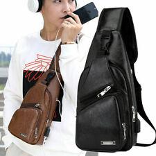 Men's Shoulder Leather Bag Sling Chest USB Charging Port Pack Crossbody Handbag
