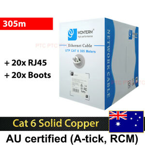 Premiun Cat 6 305m UTP Ethernet Lan Network Cable Solid Copper Roll 1000mbps