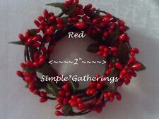 "RED Pip Berry Candle Ring 2"" ~ Primitive Christmas Country Holiday Valentine's"