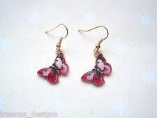 Pattern Gp Drop Earrings Gp Summer Pink Red Enamel Lifelike Butterfly Wing