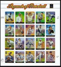 USA Scott# 3408 LEGENDS OF BASEBALL Pane of 20 Stamps - MNH
