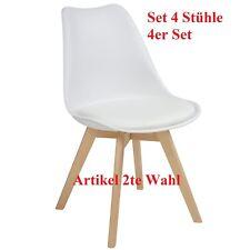 Esszimmerstühle AARHUS, 4er Set, Weiss mit Beinen aus Massiv-Holz, Buche, Retro
