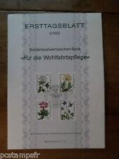 ALLEMAGNE BERLIN, 1983, FDC, FLEURS, SERIE TP 664/667, DOCUMENT 1° JOUR FLOWERS