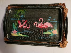 Vintage 1960's Pink Flamingo nesting trays made in Japan