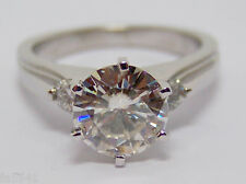14K White Gold Engagement Ring with 2 ct MOISANITE in Center & 0.15 ct diamonds