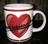VTG UNUSED W STICKER HAPPY Valentine's DAY Coffee Mug Cup Red Hearts White Kane