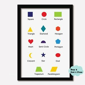 SHAPES Print Nursery Learning Kids Wall Picture Boys Girls Bedroom Playroom