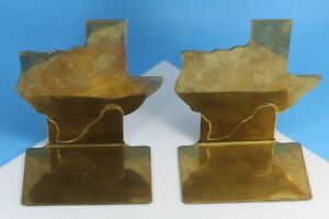 Vintage 1981 State Of Texas Solid Brass Book Ends, by Bomel Collection Inc.