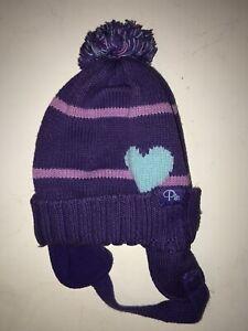 Children's Place Infant Girls Beanie Cap Sz 18-24 Months Purple Ear Flaps Pom