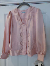 NWT LILY OF FRANCE LINGERIE LACE BED JACKET/TOP SMALL PINK BLUSH VTG