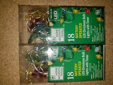 Home Accents Holiday 18 Battery Powered LED Christmas Bulb Lights With Timer