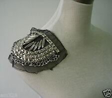 EP66 Punk Rock Goth Epaulette Shoulder Chains Studs Applique Sew On/Dress/Diy