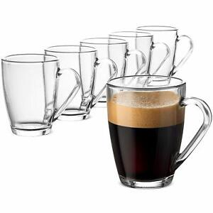 Glass Coffee Mug Set - (6 Pack) 10 ¾ Ounce with Convenient Handle, Tea Glasses