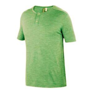 Ibex Men's OD Henley Short Sleeve Tee Overdye Gecko Green Merino Wool XL