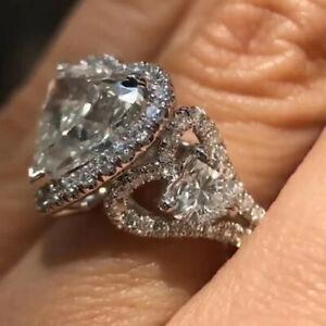 Silver Heart Rings Women Fashion Cubic Zirconia Wedding Jewelry Gift Sz 6-10