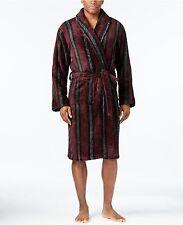$195 CLUB ROOM Men BATH ROBE Plush Red Stripe LOUNGE SLEEPWEAR PAJAMA One Size