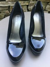 "NINE WEST - 4"" HEELED BLACK REAL PATENT LEATHER AND SUEDE SHOES - UK SIZE 4 / 37"