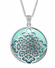 $255 R.H. Macys Womens Turqouise Charm Pendant Stainless Steel Fashion Necklace