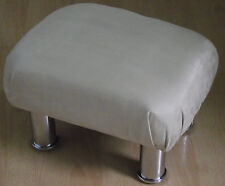 Superb new beige faux suede small footstool with chrome metal legs uk foot stool
