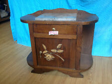 oak marble top pot cupboard / bedside cabinet