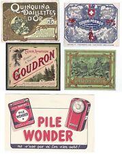 """4 étiquettes, """"pernod"""" """"quinquina"""" """"goudron""""  """"verveine"""" +1 buvard pile wonder"""