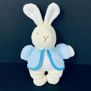 "Eden Toys Plush Bunny Tan Terrycloth Blue Jacket 9"" Baby Rattle Frederick Warne"