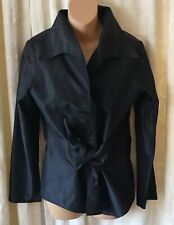 Peter Cohen Women's Black 100% Silk Wrap Shirt Top Blouse SZ Small