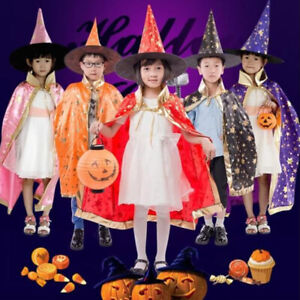 2Pcs/Set Kids Childrens' Halloween Costume Witch Cloak Cape and Hat Cosplay ^KN