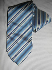 180 K8 Hugo Boss Designer Krawatte blau weiß Streifen Seide 8,5 cm breit