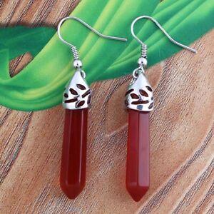 Natural Gemstone Hexagonal Pointed Reiki Chakra Beads Dangle Hook Stone Earrings
