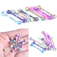 7pcs 14G Surgical Steel Colorful Tongue Tounge Helix Rings Piercing Body Jewelry