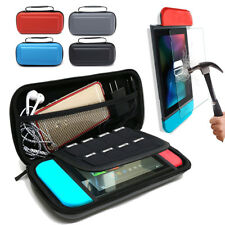 For Nintendo Switch Console Bag Case Pouch +Tempered Glass Screen Protector Film