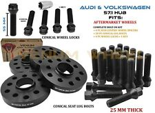 4pc 5x100 5x112 Audi Volkswagen 25mm Hub centric Wheel Spacer Kit + Wheel Locks