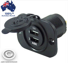 NEW FLUSH MOUNT DUAL USB SOCKET FOR CAR CARAVAN 4WD 4X4 FROM ABR