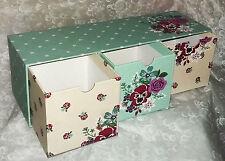 Green 3 drawer floral storage box pretty multi-colour vintage design-NEW