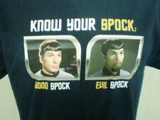 Star Trek Blue Large T-Shirt Good Spock Evil Spock Leonard Nimoy Cotton