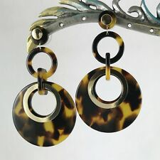 Chic Faux Tortoise Shell Double Circle Gold Accent Post Dangle Earrings